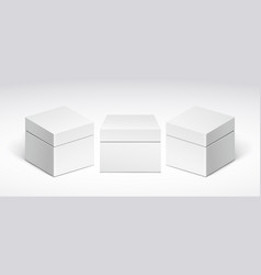 three white packing boxes with lid vector image