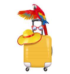 Travel concept with welcoming parrot vector