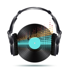 vinyl with headphones vector image