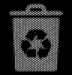 white pixel recycle bin icon vector image