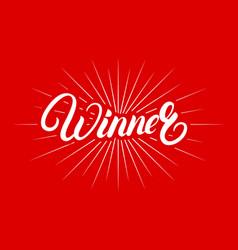 winner hand written lettering poster vector image