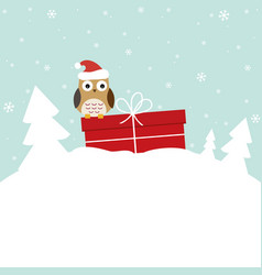 winter card with sweet owl vector image