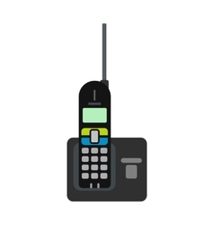 Wireless phone with antenna flat icon vector image