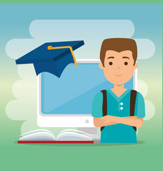 young man with computer education online vector image