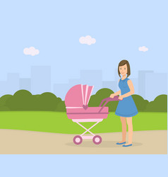 young mother with her bain stroller walking vector image