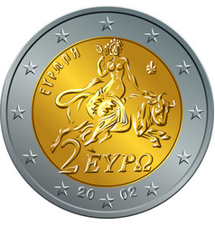 greek money gold coin two euro featuring europa vector image vector image
