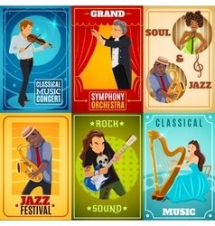 Musicians flat banners composition poster vector image vector image