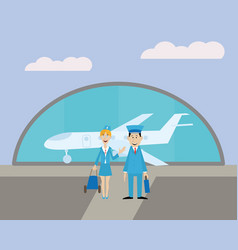 pilot and the stewardess at the airport vector image vector image