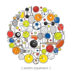 Sports Equipment Line Icons Display Label vector image