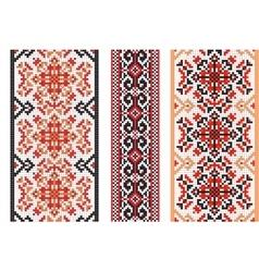 Ukrainian folk art Set of traditional embroidery vector image