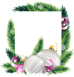 Christmas decorations and pine tree wreath vector image