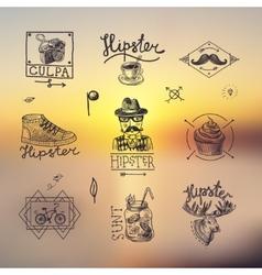 Set of hipster emblems vector image vector image