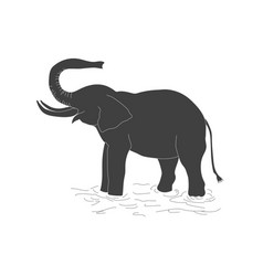 the black silhouette of an elephant on a white vector image