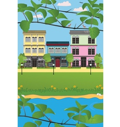 Waterfront home vector