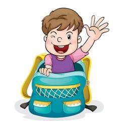 a boy in the school bag vector image vector image