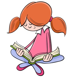 girl reading book cartoon vector image vector image
