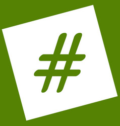 hashtag sign white icon vector image vector image
