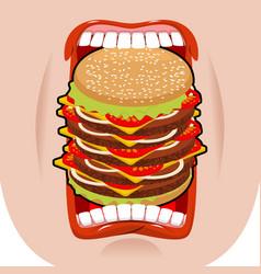 big hamburger mouth strong hunger great burger vector image