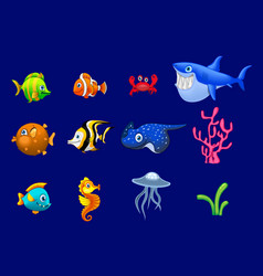 cartoon trendy colorful reef animals big set vector image vector image