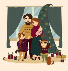 family at christmas standing near christmas tree vector image vector image