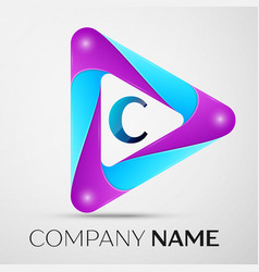 letter c logo symbol in the colorful triangle on vector image