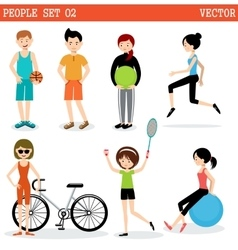 Set of the people playing sports vector image vector image