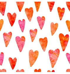 Watercolor hearts seamless pattern vector image vector image