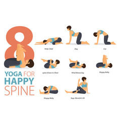 8 yoga poses for happy spin concept vector
