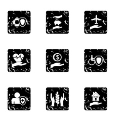 Assurance icons set grunge style vector