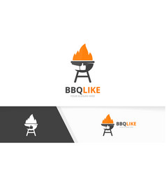 bbq and like logo combination grill and vector image