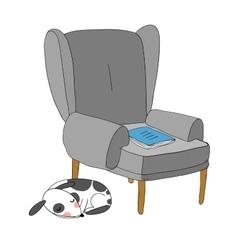 Beautiful vintage chair notebook and a cute dog vector