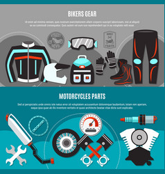 Bikers gear horizontal banners vector