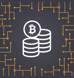 Bitcoin coin flat icon on circuit board background vector