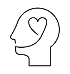 black silhouette head with heart vector image
