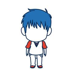 Boy anime male manga cartoon comic blue hair vector
