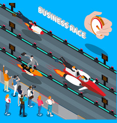 Business race isometric composition vector
