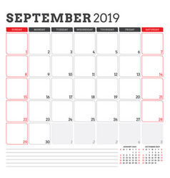 Calendar planner for september 2019 week starts vector