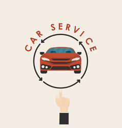 Car and human hand signcar service logo design vector