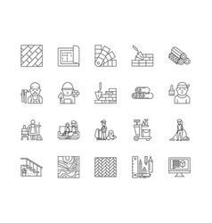 Carpets line icons signs set outline vector
