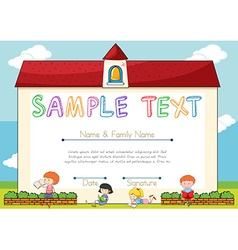 Certificate template with children on background vector