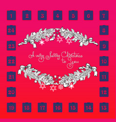 Christmas advent calendar with garland toys vector