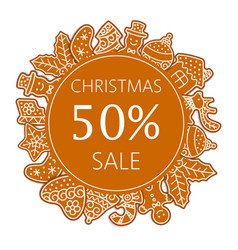 christmas sale banner made gingerbread cookies vector image