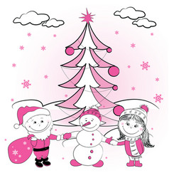 Christmas tree and couple of lovers vector