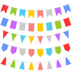 colorful shape of bunting set on white background vector image