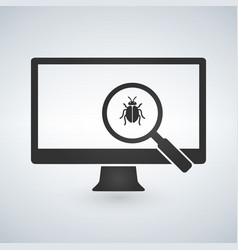 computer monitor with magnifying glass and bugs vector image