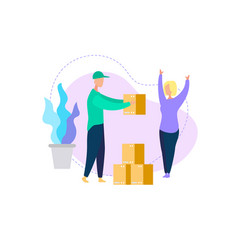 courier deliver box parcel to young woman consumer vector image