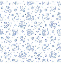 covid19 vaccine blue seamless pattern vector image