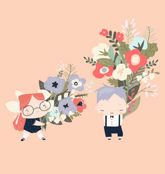 cute cartoon children holding bouquets flowers vector image