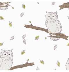 Cute childrens floral seamless pattern with owl vector