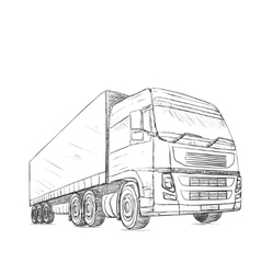 Delivery service Hand drawn truck vector image